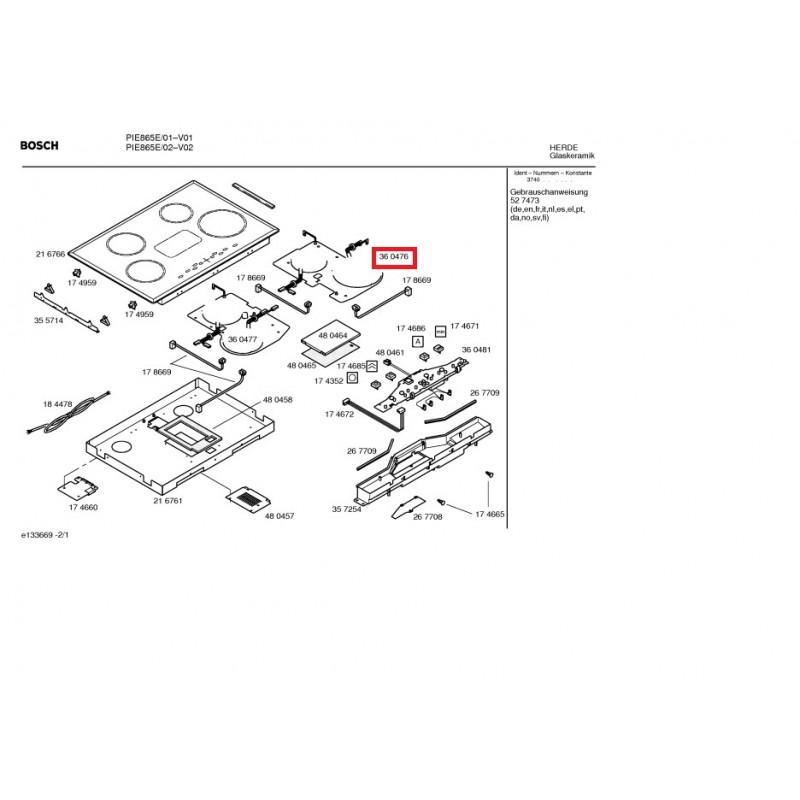 induction foyer droit pour plaque Bosch Siemens
