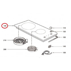 Dessus vitrocéramique pour table de cuisson Brandt AS0005813