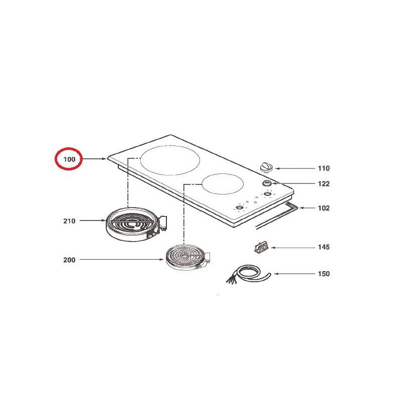 Dessus vitroc ramique pour table de cuisson brandt as0005813 - Table de cuisson vitroceramique de dietrich ...
