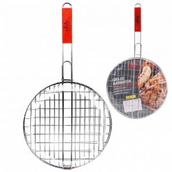 Grille barbecue ronde + manche 58x31cm