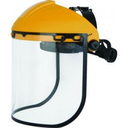 Porte-visière avec protection frontale + visière polycarbonate incolore avec bord plastique. 39 x 30 cm