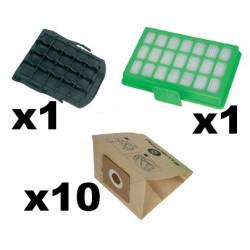 10 sacs papiers + 1 filtre haute filtration + 1 filtre ZR007001 Rowenta