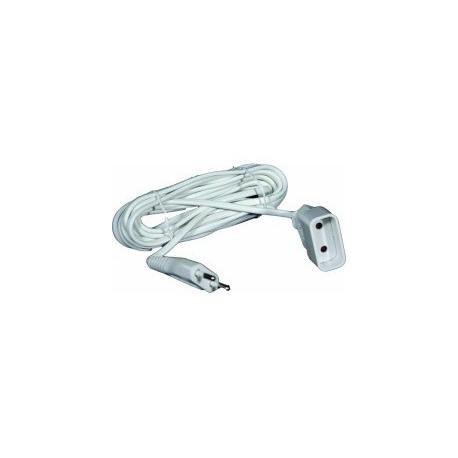 Prolongateur Blanc 2 M - Cable H03 VV-F - 2 X 0.75mm² - 2P - 6A