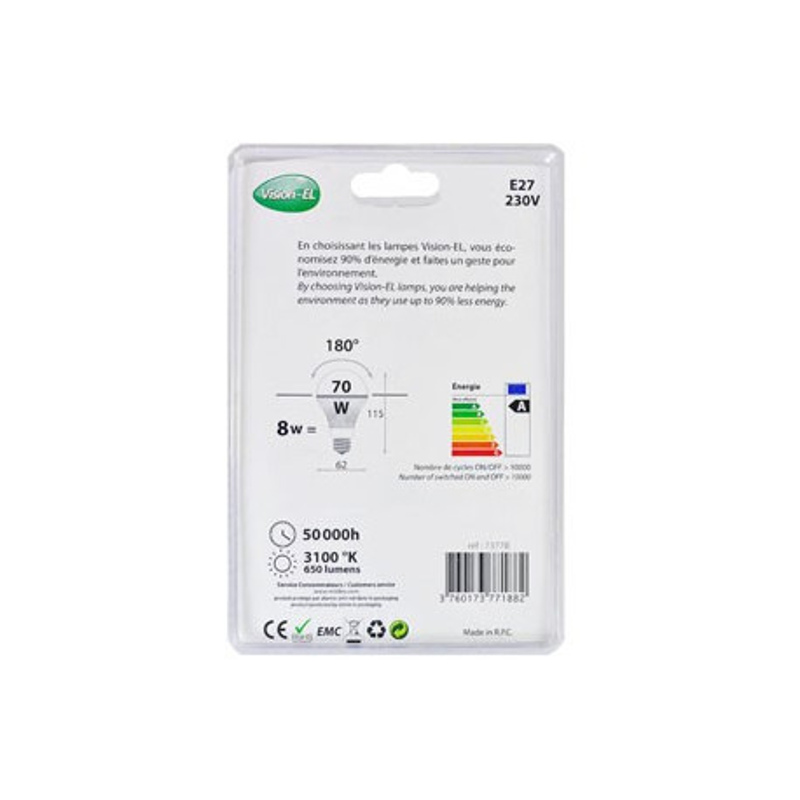 Ampoule LED E27 - Bulb - 8W - 3100K