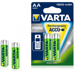 Pile rechargeable Varta Phone 1600 mAh 1,2V - LR06 - 58399 - Blister de 2 piles