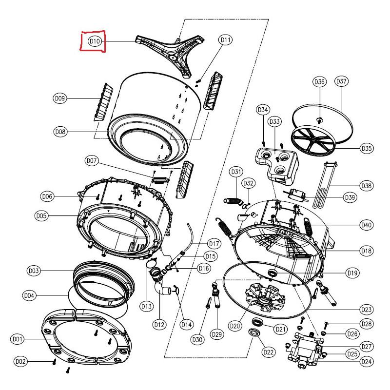 croisillon tambour pour machine a laver daewoo 361a300500. Black Bedroom Furniture Sets. Home Design Ideas