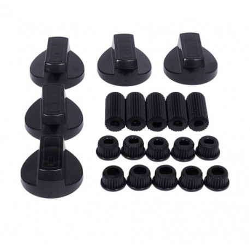 kit 5 manettes / boutons uni noir diamètre 6mm et 8mm