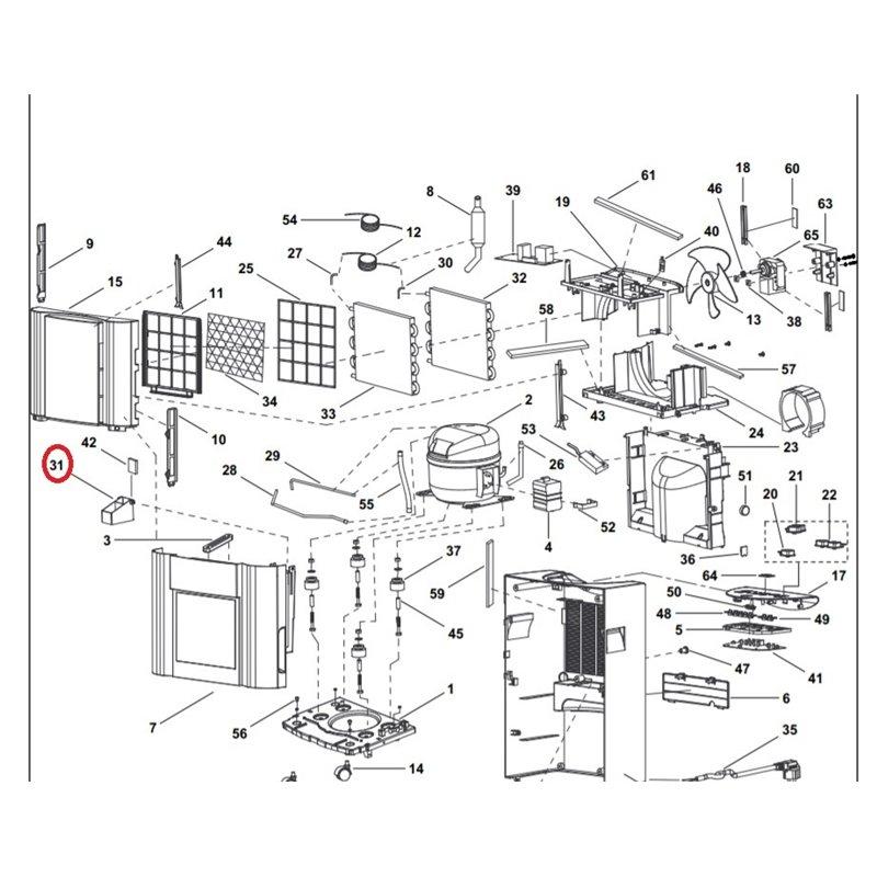 C00091004 Indésit Portillon évaporateur blanc / gris pour réfrigérateur